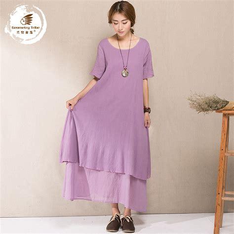 2015 cotton linen women long beach dresses vintage summer Two Piece dress elegant short sleeve ...