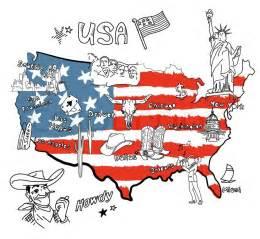 new york fläche stilisierte karte amerika dinge die verschiedenen regionen in den usa berühmt für