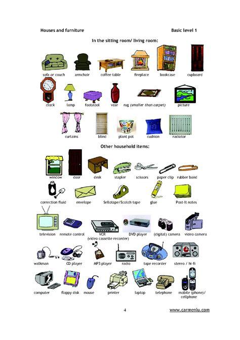fourniture de bureau en anglais pièces de la maison en anglais