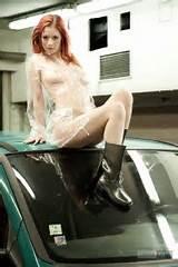 Redhead ariel in car park