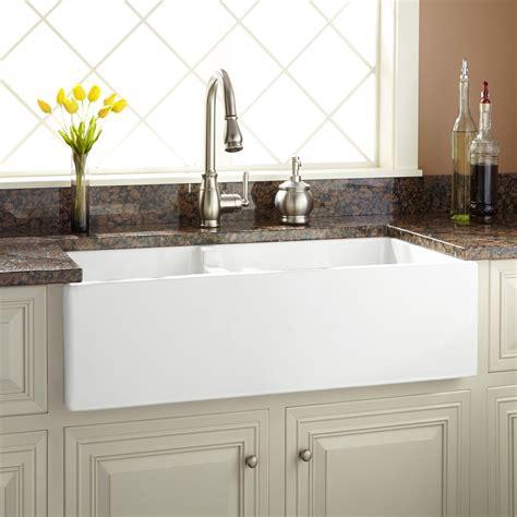 kohler kitchen faucet installation 36 quot risinger 60 40 offset bowl fireclay farmhouse sink