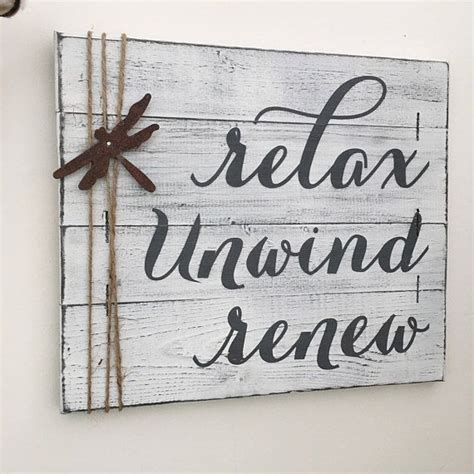 "What people like about adding decor to the wall is the inexpensive and simple choices available. RUSTIC BATHROOM DECOR, 14x12"", farmhouse bathroom, unwind sign, relax soak unwind, wood relax ..."