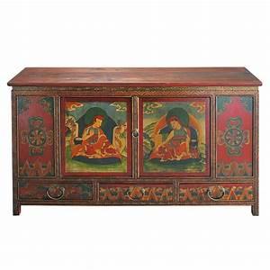cabinet de rangement indien en bois multicolore l 120 cm With meuble indien maison du monde