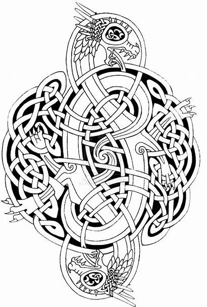 Celtic Dragon Coloring Pages Mandala Adults Adult