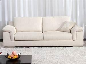 Canapé Tissu Beige : canap fixe tissu c cilia 3 places beige 53976 53977 ~ Dallasstarsshop.com Idées de Décoration
