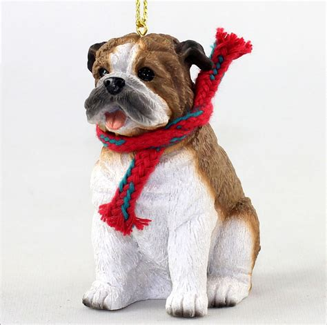 bulldog christmas scarf ornament