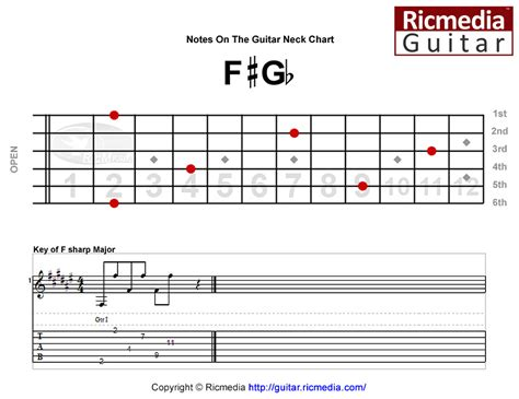 notes   guitar neck chart