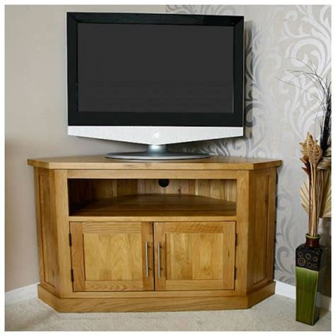 Light Solid Oak Corner TV Stand   Best Price Guarantee