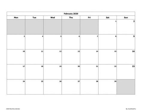 monthly calendar mon start ink saver excel
