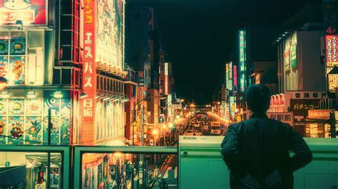 japanese tokyo neon bicycle wallpaper