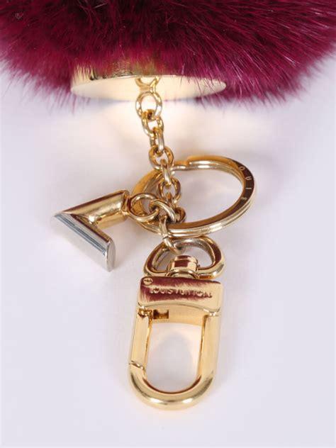 louis vuitton mink fur bubble duo bag charm key holder burgundy luxury bags