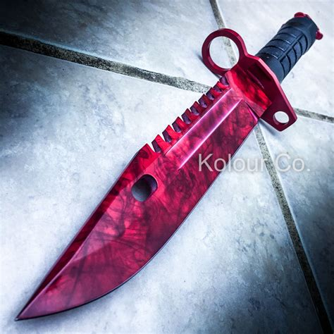 13 quot cs go tactical fixed blade knife bayonet bowie ruby doppler survival ebay