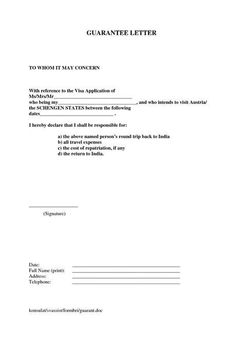 letter financial guarantee letter  visa sample