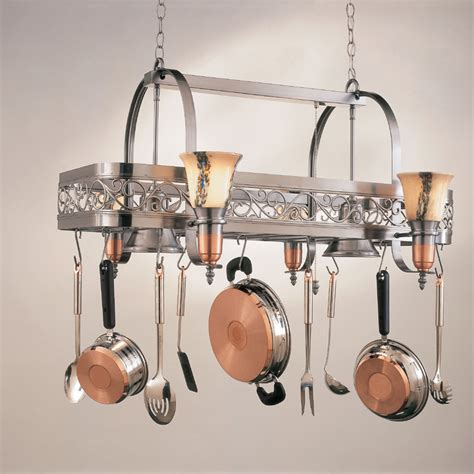 kitchen island with hanging pot rack hi lite manufacturing h 10y d 14 wht ody satin steel satin