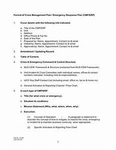 format of crisis management plan emergency response plan With sample crisis management plan template