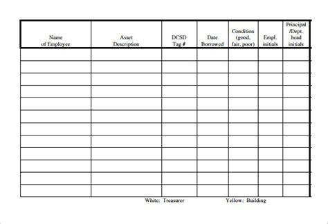 sample equipment sign  sheet templates