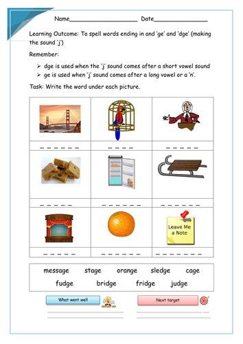 two letter words ending in g ge and dge sounds words worksheet by krazikas 20177