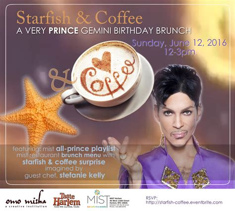 Notify me when this product is available: Starfish & Coffee: A Very Prince Gemini Brunch in Harlem ...
