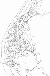 Pages Koi Fish Coloring Drawings Tattoo Drawing Japanese Dragon Printable Coy Adults Carp Colouring Outline Adult Sheet Books Element Line sketch template