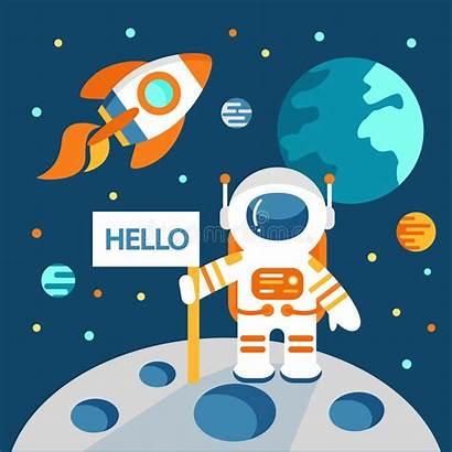 Astronaut Moon Space Illustration Vector Clip Clipart