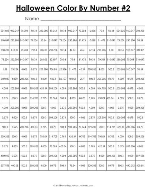 halloween math color  number  grade games  gains