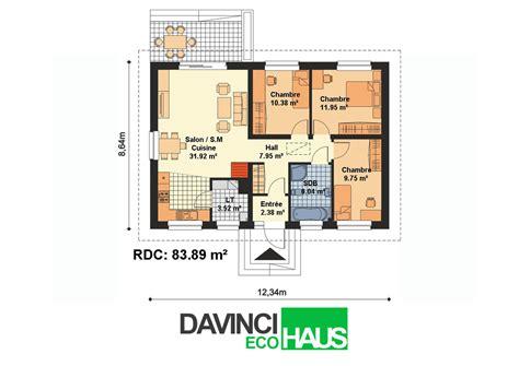 plan de maison plain pied 2 chambres et garage maison plain pied en ossture bois écologique