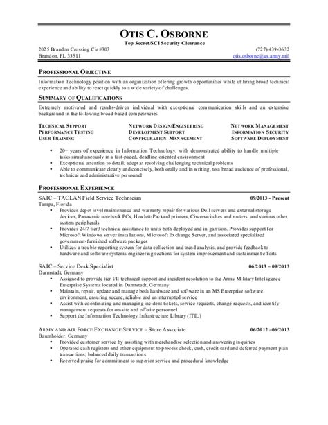 security clearance resume example otis osborne resume