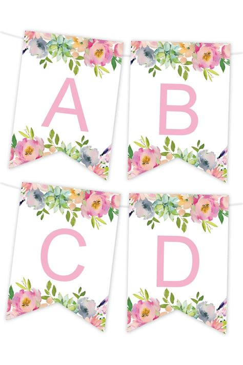 pink floral printable banner diy birthday banner