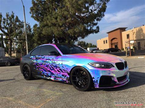 cool wrapped cars bmw m235i with rainbow chrome wrap