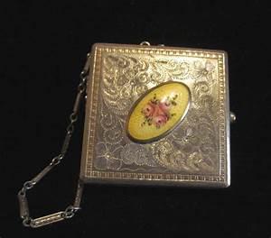 Purse Designs Antique Guilloche Compact Purse Powder Mirror Compact