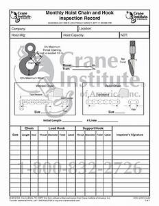 Monthly Hoist Chain And Hook Inspection Record  U2013 Crane