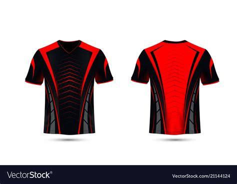 black  red layout  sport  shirt design vector image