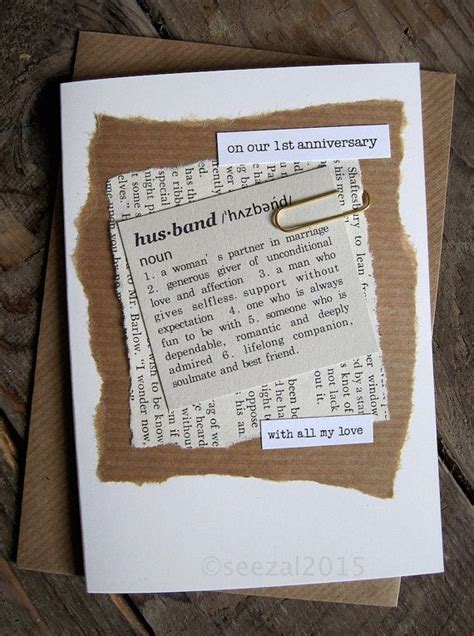 st anniversary card husband paper dictionary