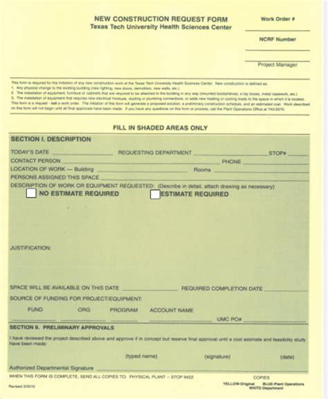sample work order forms  ms word