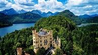 BAVARIA, GERMANY: Beautiful drone flight over the Bavarian ...