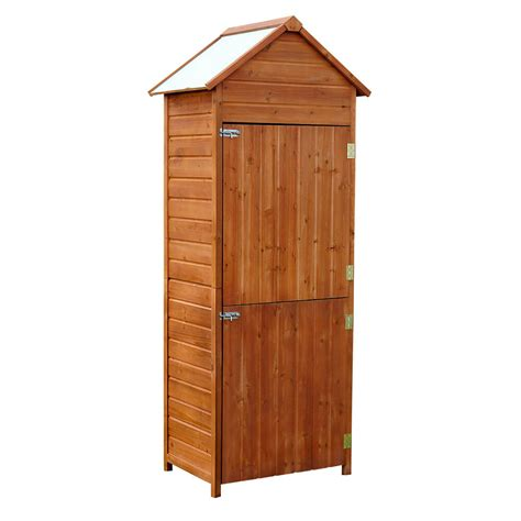 Patio Storage Cabinet by Outsunny Outdoor Patio Vertical Storage Shed Wood Cabinet