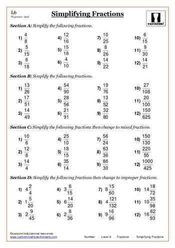 fractions maths worksheet fişe matematice cu a z ged