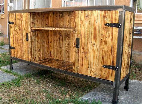 pallet wood furniture reclaimed wood pallets plus steel tv stand plan wood Reclaimed