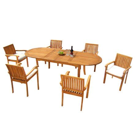 pc  grade outdoor patio teak dining set  double