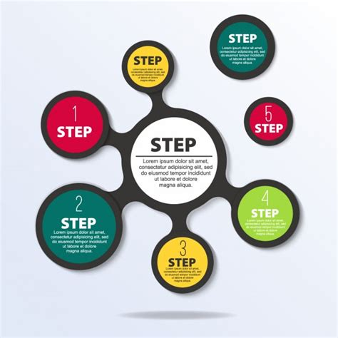 step by step template infographic step template vector free