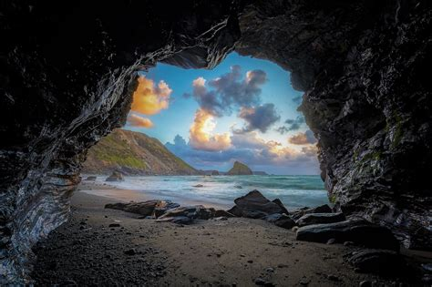 View from Beach Cave HD Wallpaper | Background Image ...