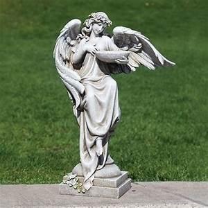 19, 75, U0026quot, Gray, Angel, Garden, Statue, With, Bird, Bath, -, Walmart, Com