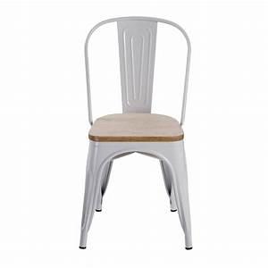 Chaise Blanche Et Bois : chaise factory blanche et bois lot de 2 koya design ~ Nature-et-papiers.com Idées de Décoration