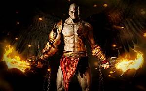 God Of War Ascension Kratos With Flaming Blades Of Chaos ...