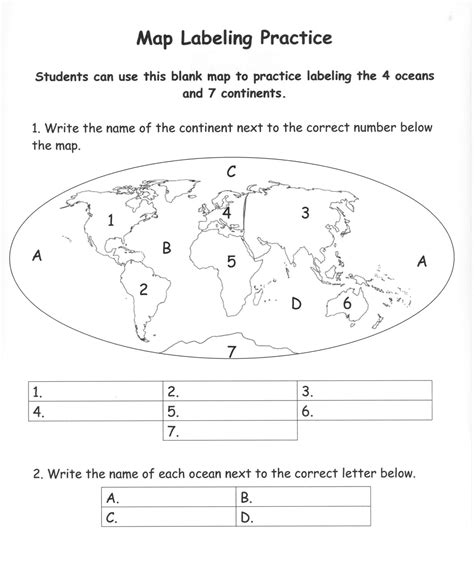 Continents And Oceans Worksheet Resultinfos
