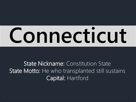 State Nickname: Constitution State State