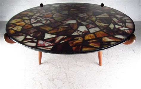 stained glass table ls mid century modern walker weed stained glass coffee table