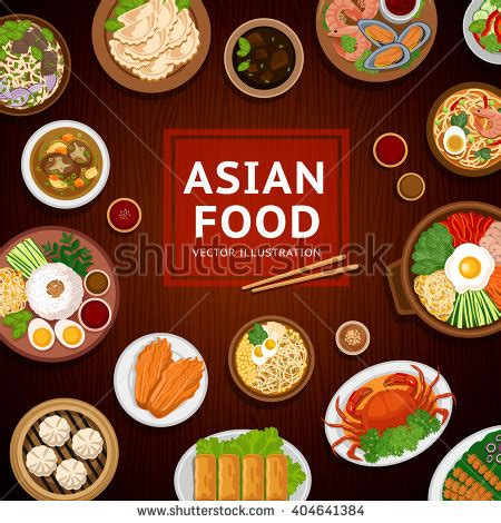 asian food traditional national dishes  stock vector