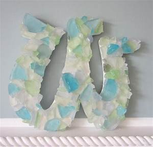 nautical decor wall letters sea glass beach decor With glass letters for wall