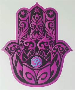 PINK HAMSA HAND with LOTUS and OM symbol yoga Vinyl Decal ...